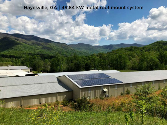 Hayesville, GA | 49.84 kW metal roof mount system