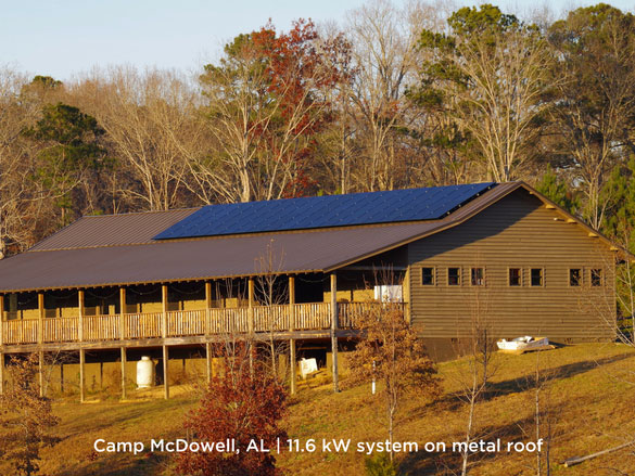 Camp McDowell, AL | 11.6 kW system on metal roof