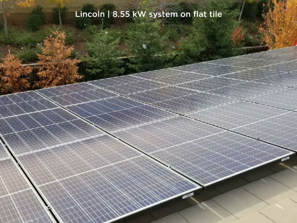 Lincoln | 8.55 kW system on flat tile