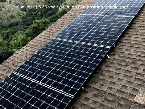 San Jose | 5.36 kW system on composition shingle roof