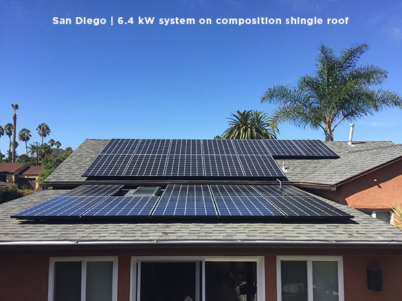 San Diego | 6.4 kW system on composition shingle roof
