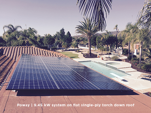 Poway | 9.45 kW system on flat single-ply torch down roof